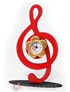 Picture of Relógio Nota Musical Vermelho Dourado