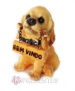 Picture of Cachorro Plaquinha Osso Bem Vindo Resina
