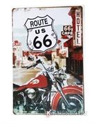 Picture of Placa de Metal Moto Antiga Rota 66